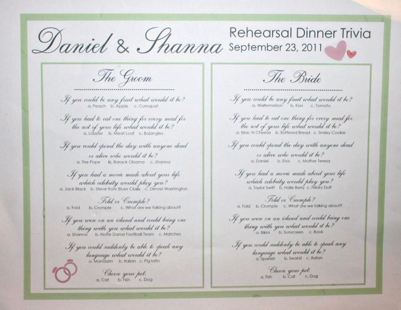 Rehearsal Dinner Trivia - Would be perfect for a wedding shower too ...
