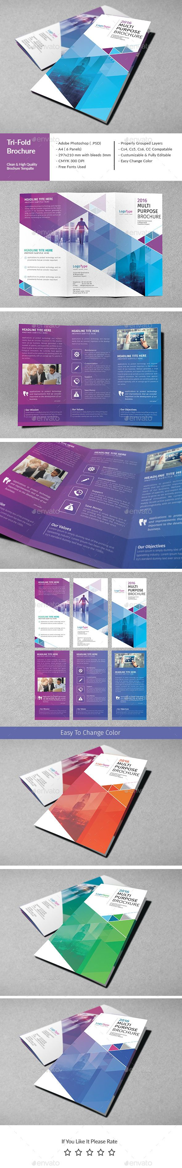 Corporate Tri-Fold Brochure Template PSD. Download here: graphicprime.com/...