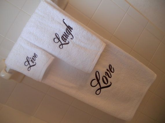 Items Similar To Live Laugh Love Embroidered Bath Towels Set In White And  Chocolate On Etsy