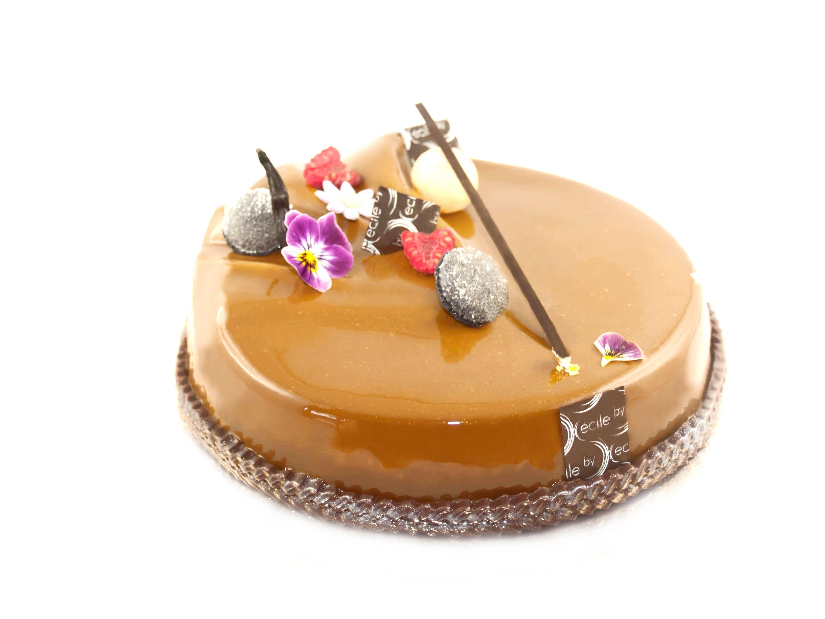 Entremets chocolat th noisettes fond croustillant - Glacage miroir chocolat ...