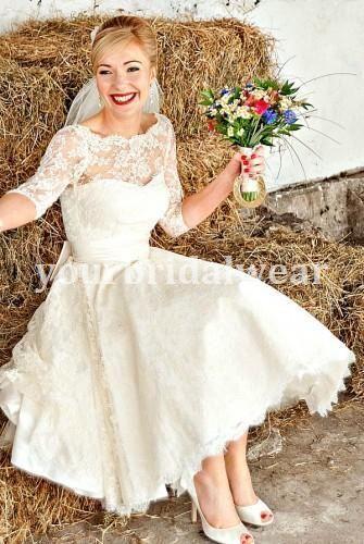 UK 50s 60s Vintage Lace Short Wedding Dress Long Sleeve Knee Tea Length Michelle