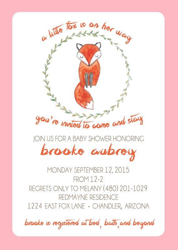 baby shower invitations fox theme  | Baby Invite, fox baby shower theme, baby shower games, woodland theme ...