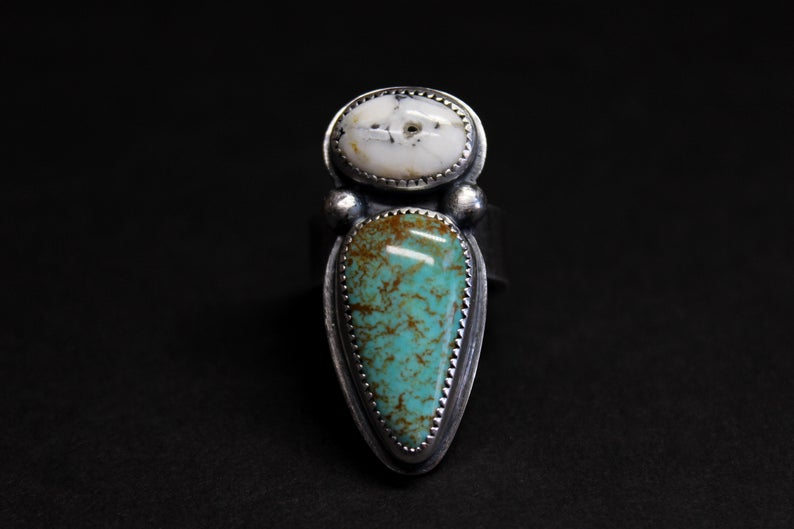 Royston Turquoise and White Buffalo ring~ Natural  turquoise~ sterling silver~ artisan handmade~ finished in your size