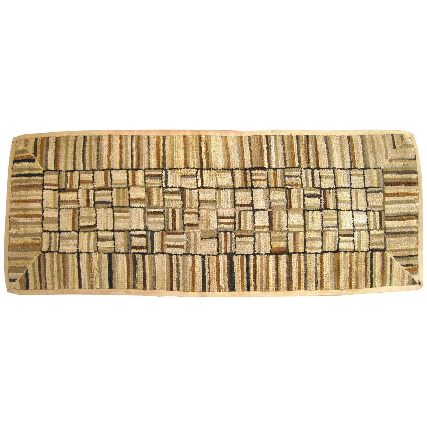 Vintage American Hooked Rug with Mosaic Design | From a unique collection of antique and modern north and south american rugs at https://www.1stdibs.com/furniture/rugs-carpets/north-and-south-american/