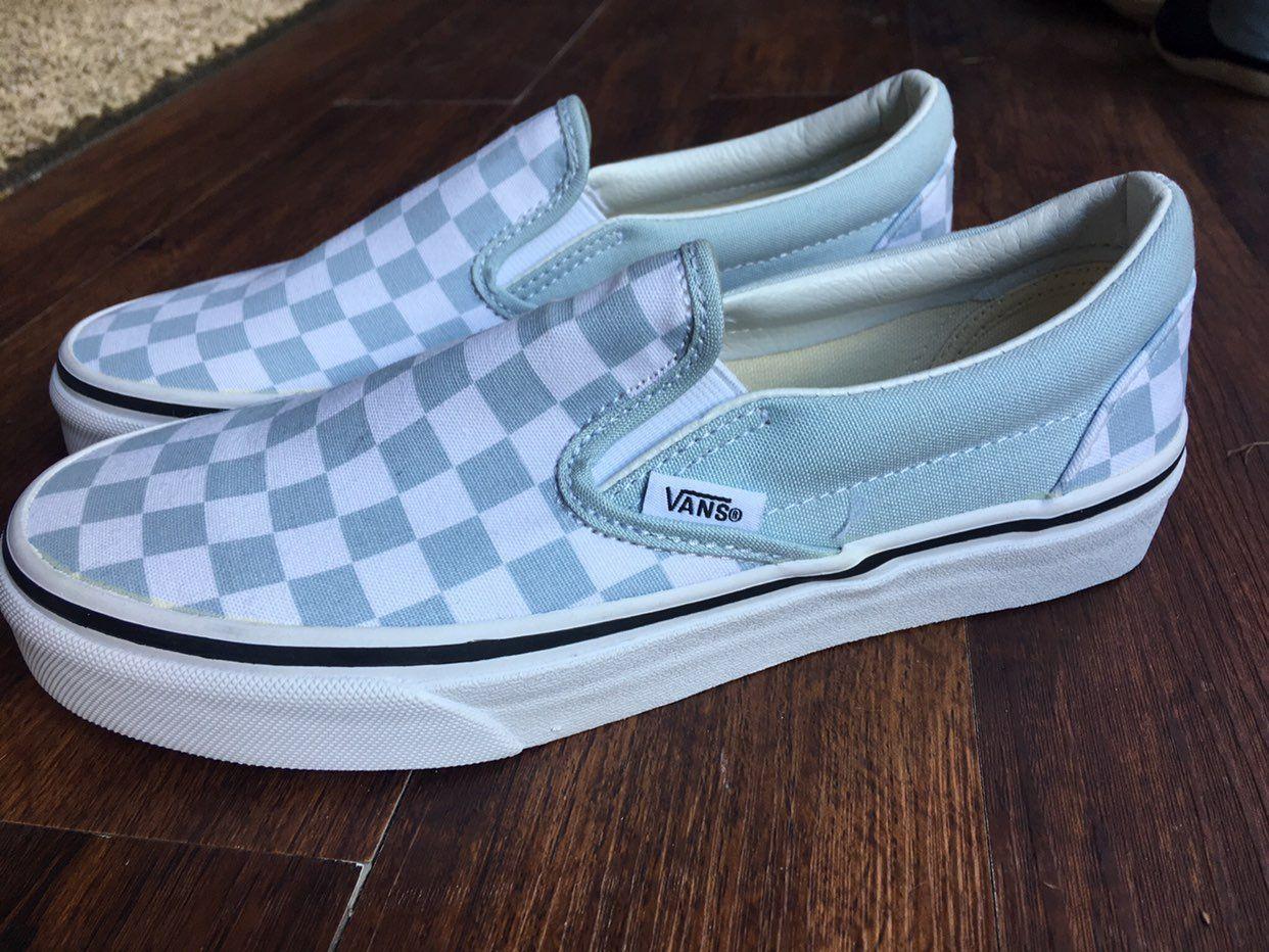 Light Blue Checkered Vans #blueshoes