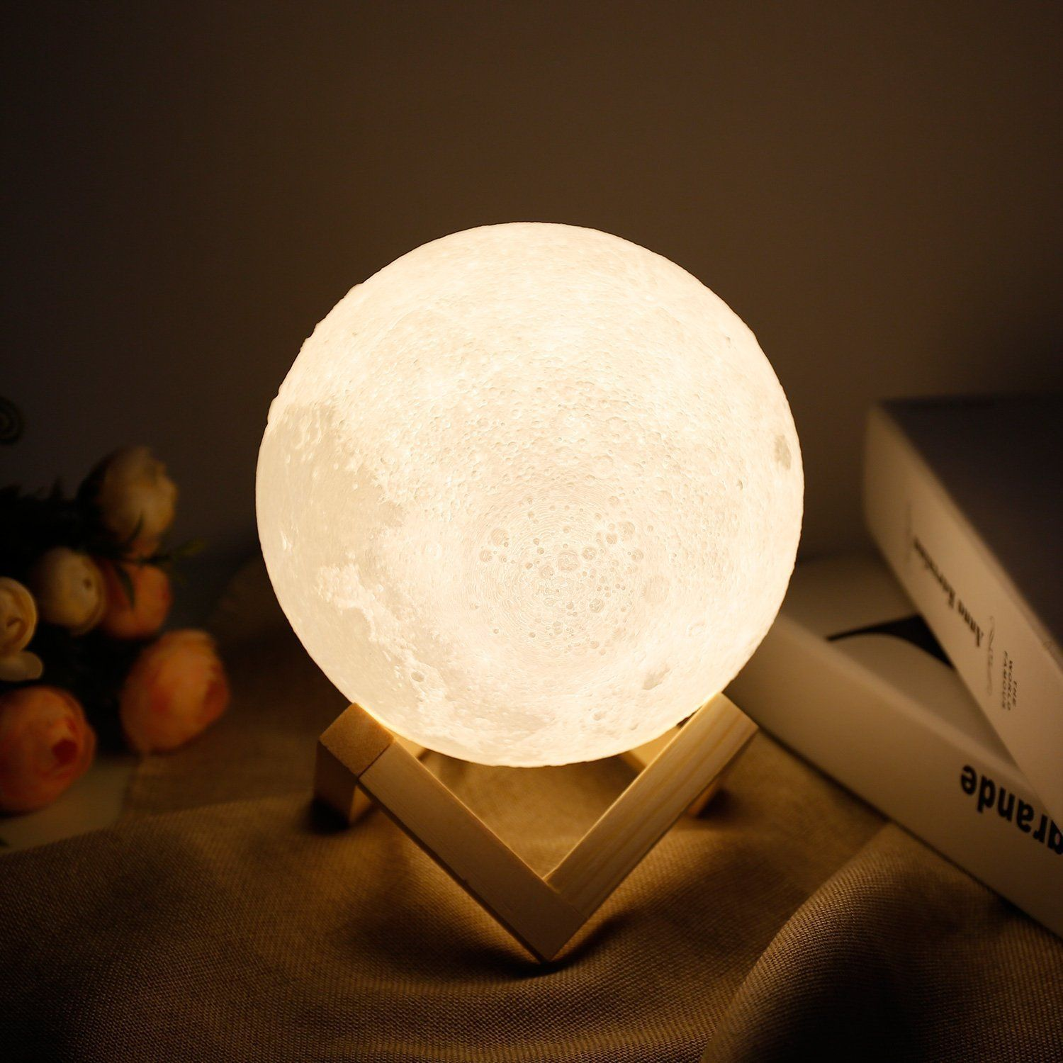 Moon Lamp Lampwin 5 9 Inch Usb Rechargeable Dimmable Led 3d Full Moon Light Lantern Touch Switch Warm Cool White C Lantern Lights Dimmable Led Decor Gifts