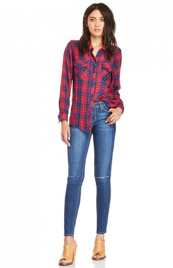 Daily Look Slasher Skinny Jeans// #RippedDenim #Shopping #Plaid