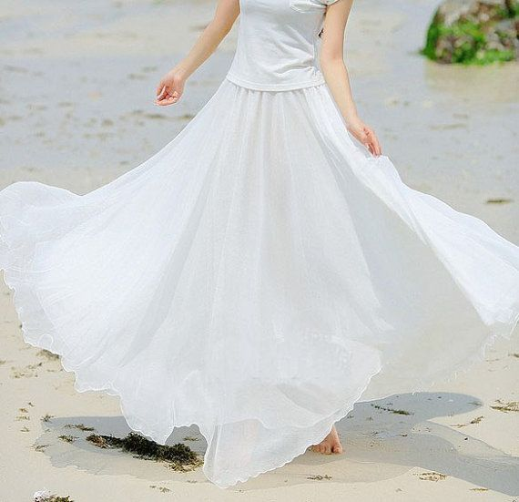 White Chiffon skirt Maxi Skirt Long Skirt by fashionclothingshow ...
