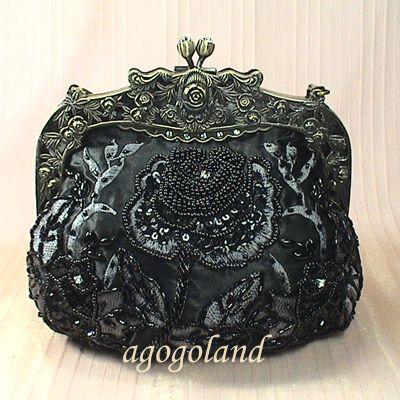 Elegant Black Beaded Rose Flower Pattern Evening Handbag Purse Clutch T C11330B | eBay