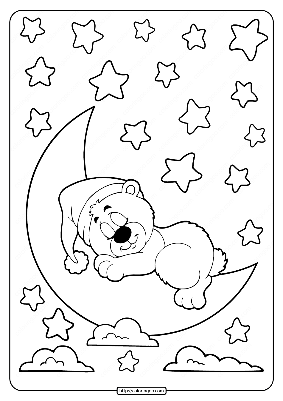 Sleeping Bear On The Moon Coloring Pages In 2021 Moon Coloring Pages Coloring Pages Hand Art Drawing