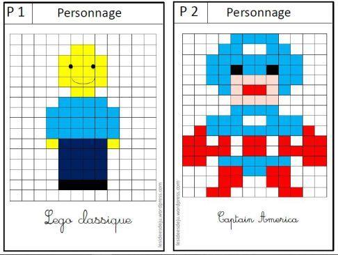 Des pixel art historiques l 39 art en classe pixel art act math et math school - Modele dessin personnage ...