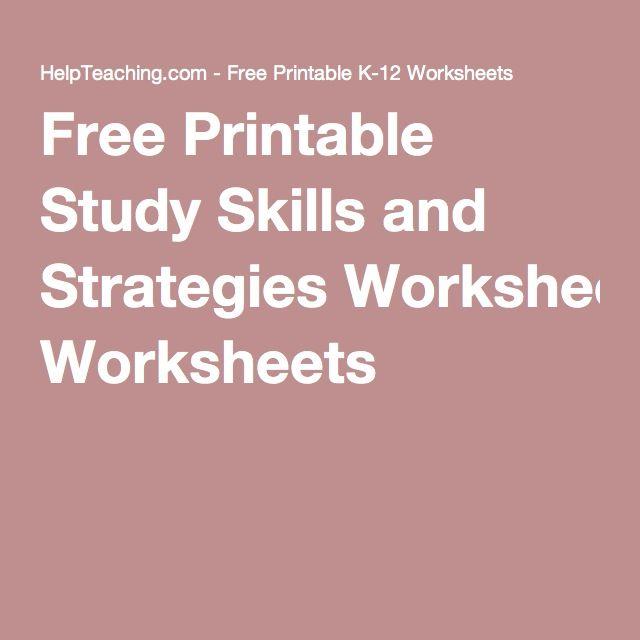 Studying Workbooks: Free Printable Study Skills And Strategies Worksheets