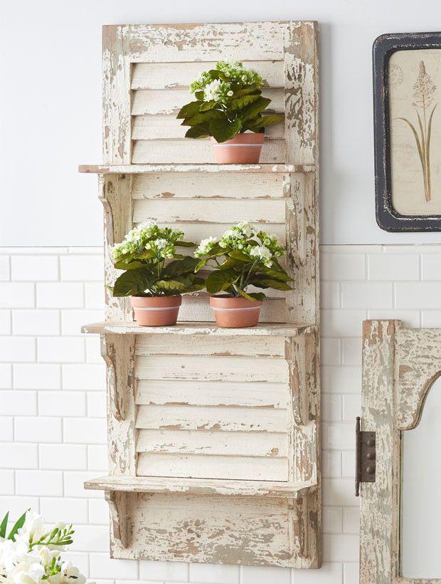 Distressed Wood Shutter Wall Shelf Wood Shutters Shutter Decor Shutter Wall