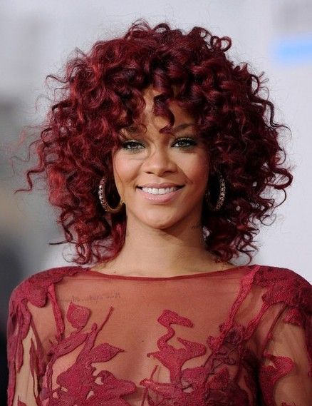Rihanna Medium Length Red Curly Hairstyle #blackhairstyles