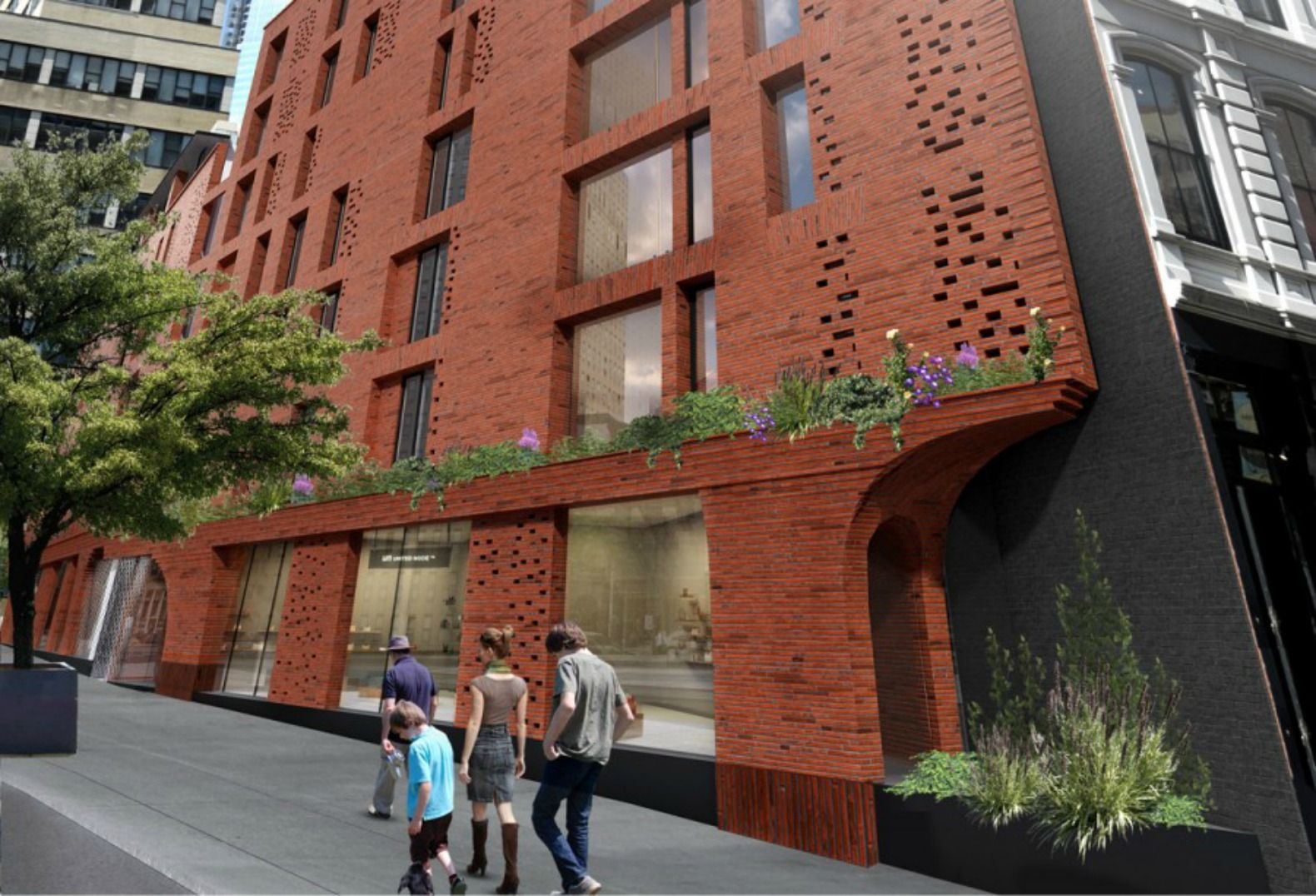 Ddg S New Tribeca Condos Wrap Modern Green Features Within A Traditional Brick Facade Brick Facade Nyc Real Estate Green Roof System