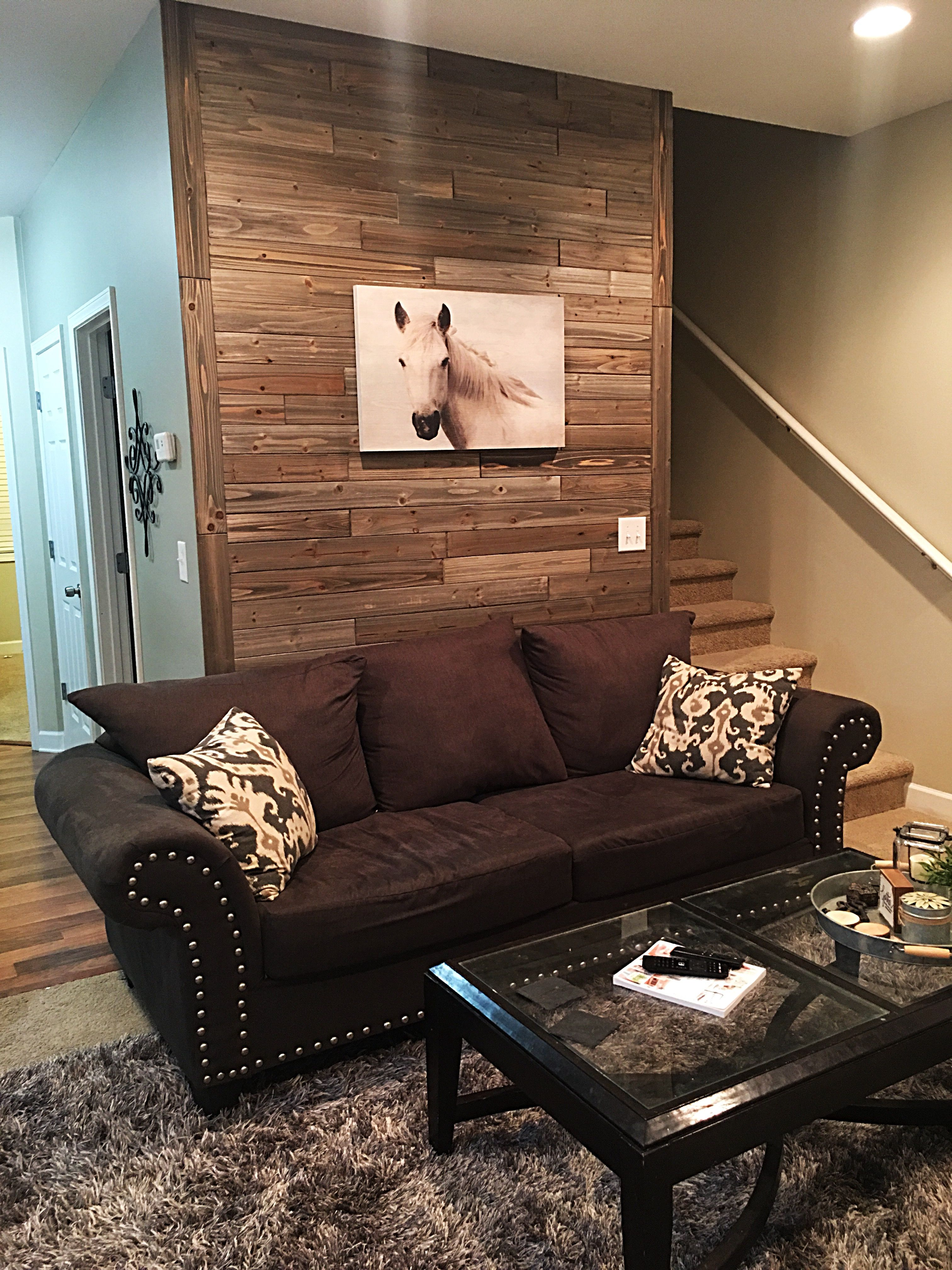 Pallet wall using wood planks from Lowe's | Wall plank ...