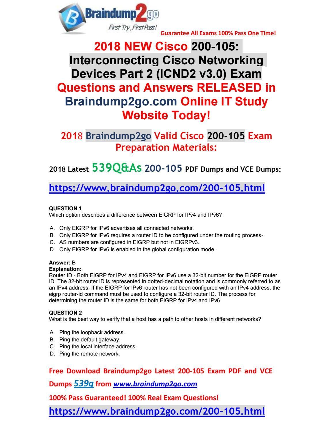 2018-7-Version] New Braindump2go 200-105PDF and VCE Dumps 539Q Free