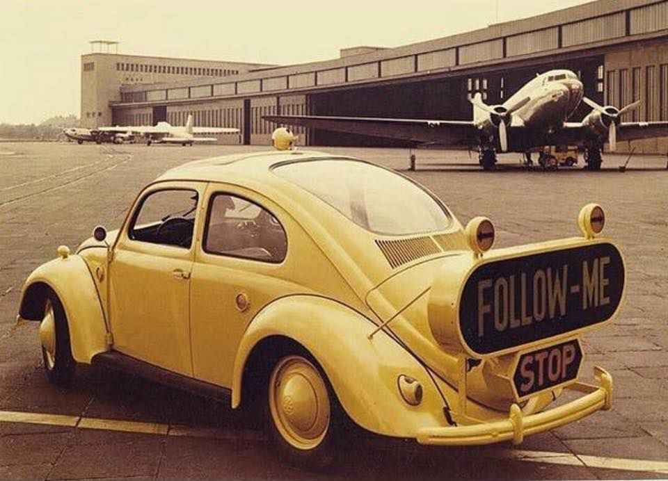 """Find Car For Me: A VW Bug """"Follow Me"""" Airport Car."""
