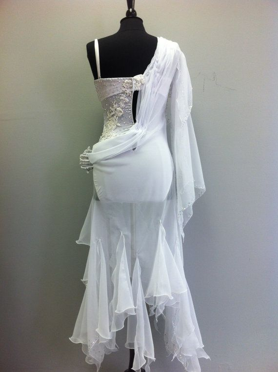 d9d55f028 White Dance Dress from Chiffon with beaded top and all in Swarovski ...