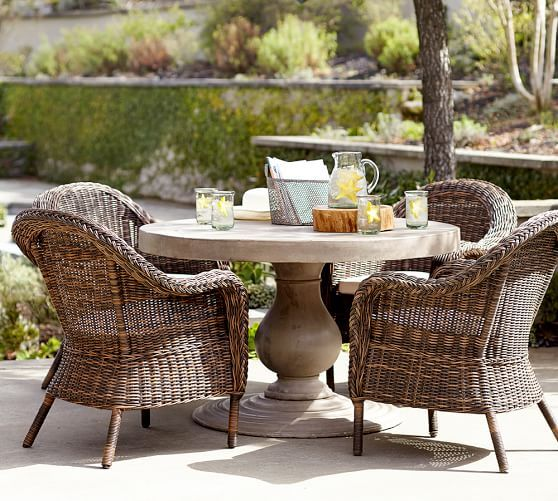 Geneva Concrete Round Fixed Dining Table | Pottery Barn For My Deck