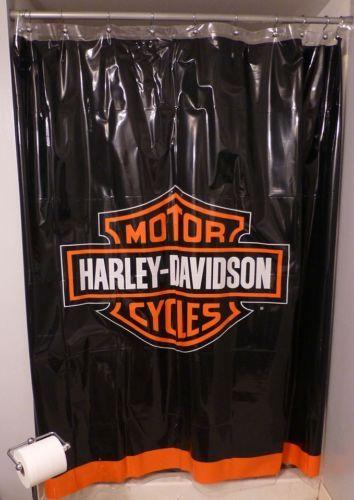 New Harley Davidson Logo Shower Curtain Harley Davidson Decor