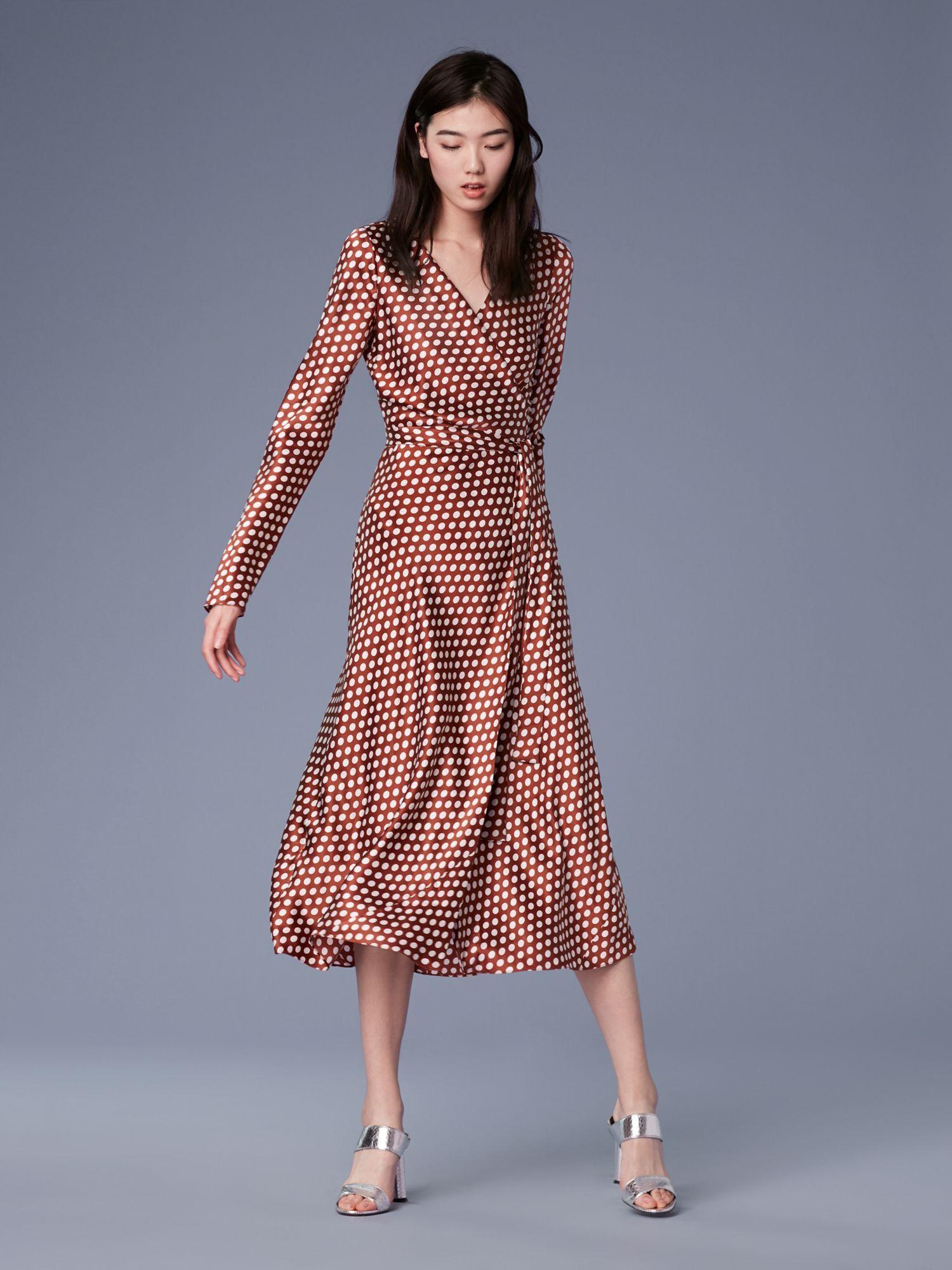 7cc364f0f008e8 Diane Von Furstenberg Dvf Tilly Satin Dress - Baker Dot Sml Sienna 10