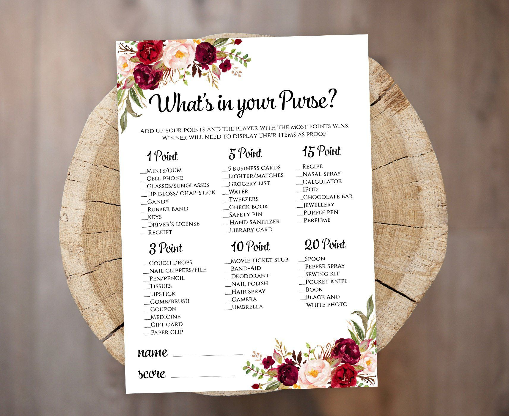 What's in your Purse Bridal Shower game template Printable