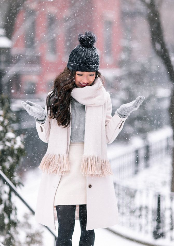 b22bb3f64918de winter white style snow outfit // j.crew petite lady day coat + fringe scarf