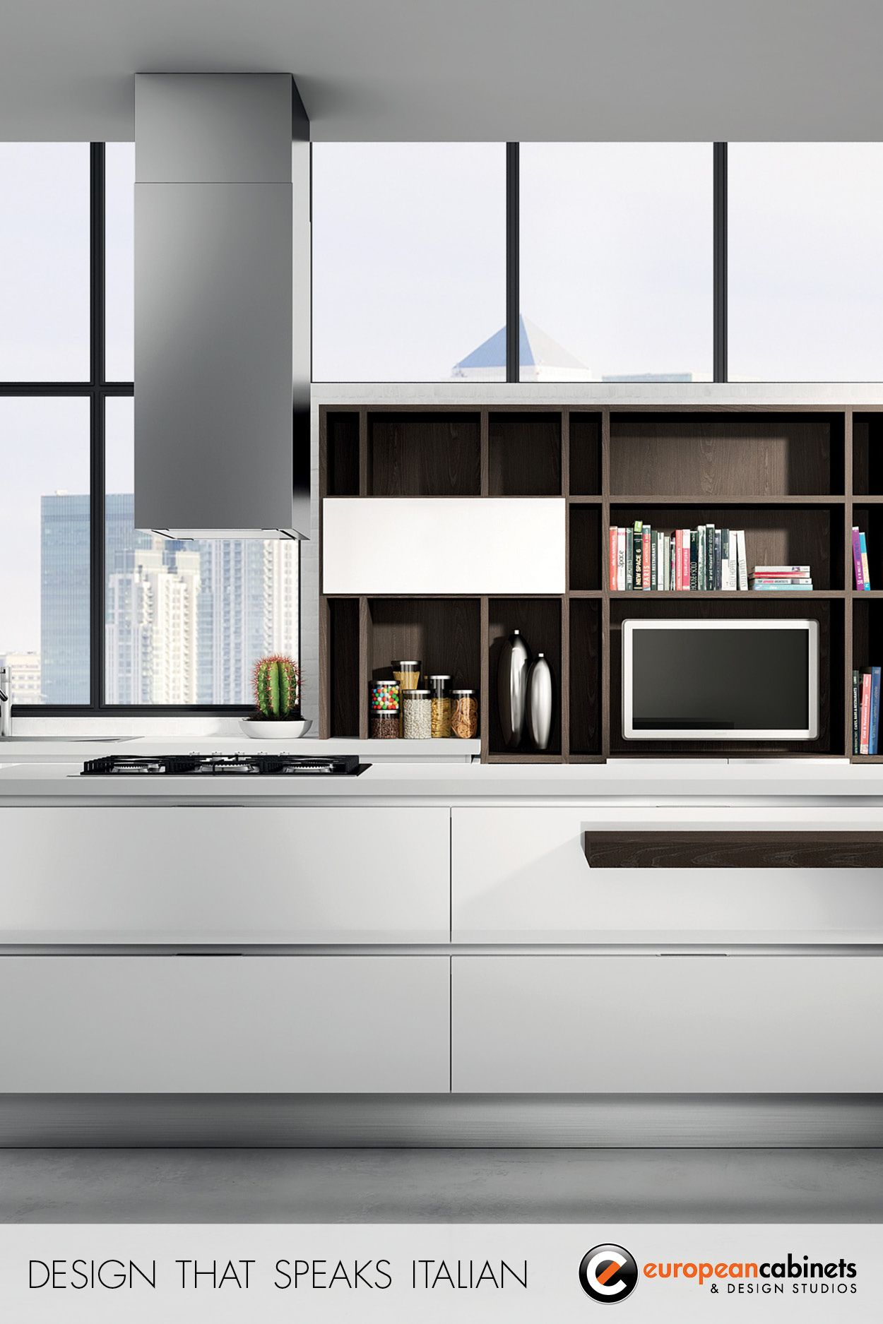 White kitchen cabinets and dark wood open shelving from the Bella ...