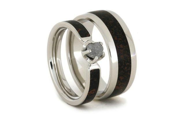 Jewelry By Johan Palladium And Dinosaur Bone Wedding Ring Set