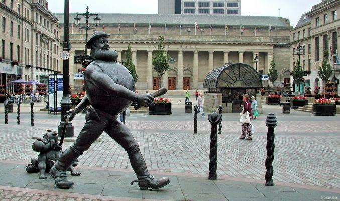 Desperate Dan Statue Outside Caird Hall Glasgow Scotland Dundee Scotland
