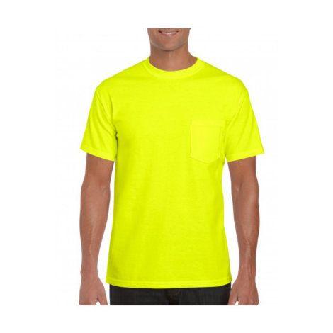 4e82e1530279a7 Gildan Men's Safety Green Short Sleeve Crew Neck Pocket Shirt by ...