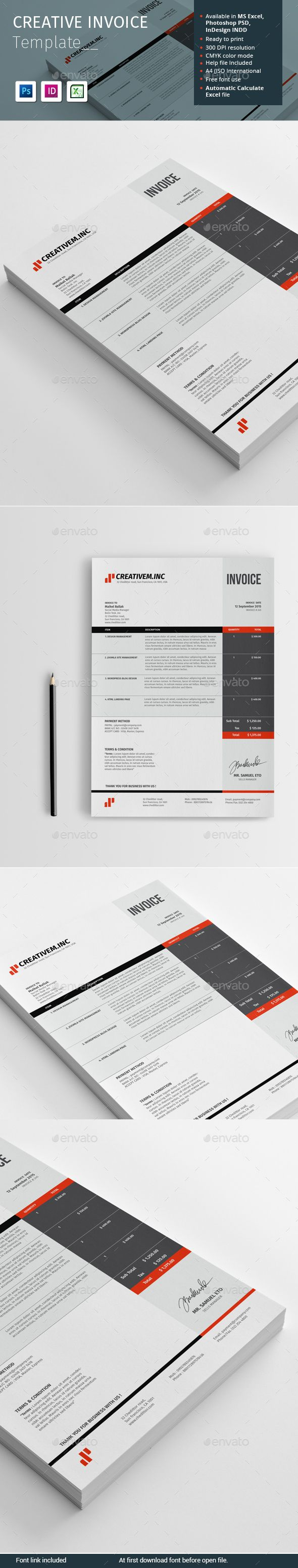 Creative Invoice Template Psd Indesign Indd Ms Excel  Financial