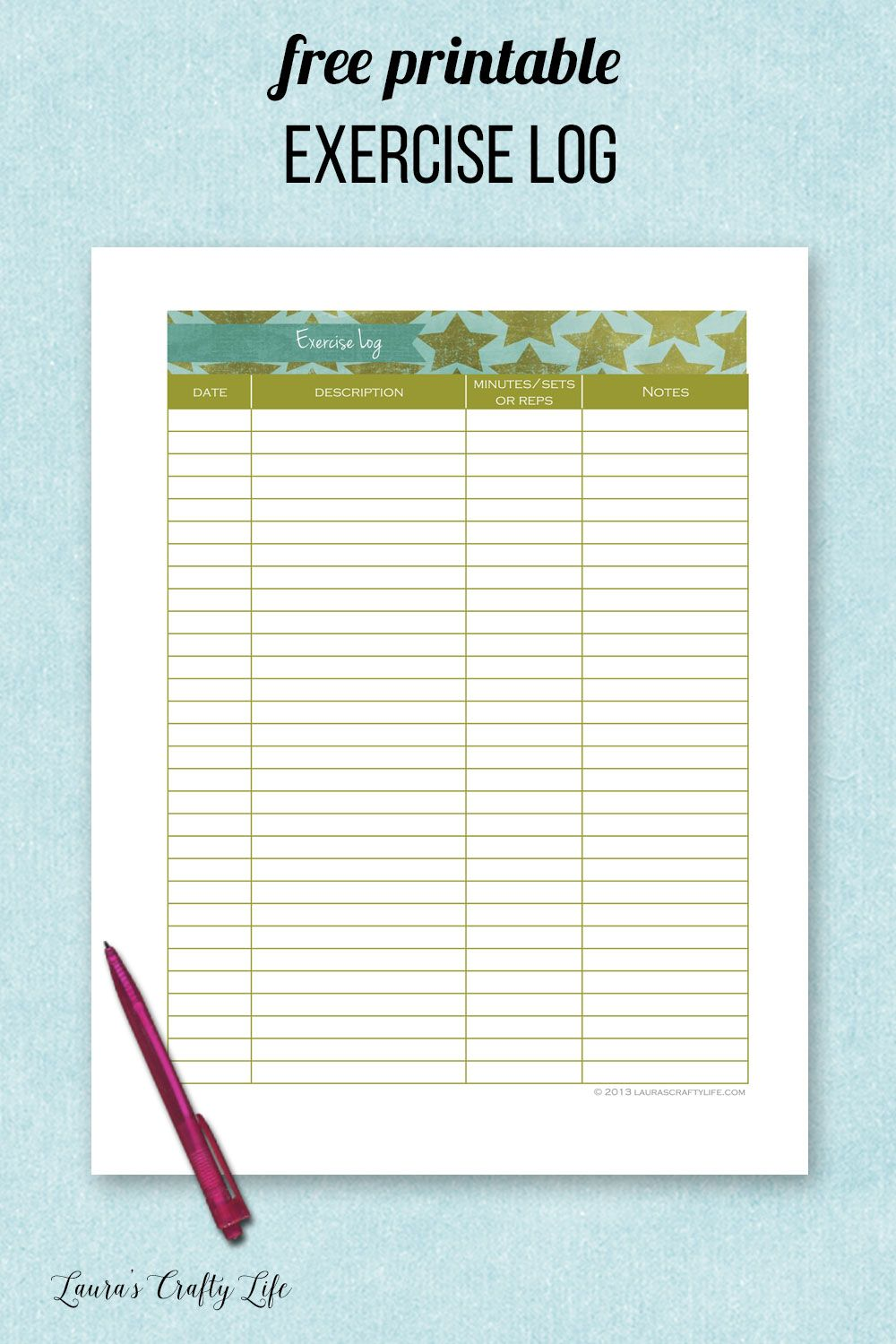 Free printable exercise log. Track the date, exercise