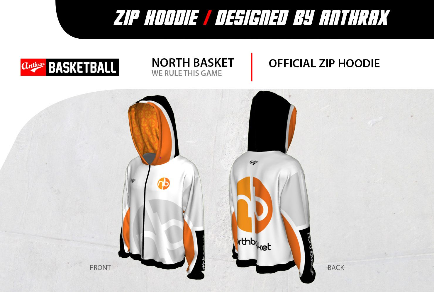 Northbasket zip hoodie design by Anthrax Basketball