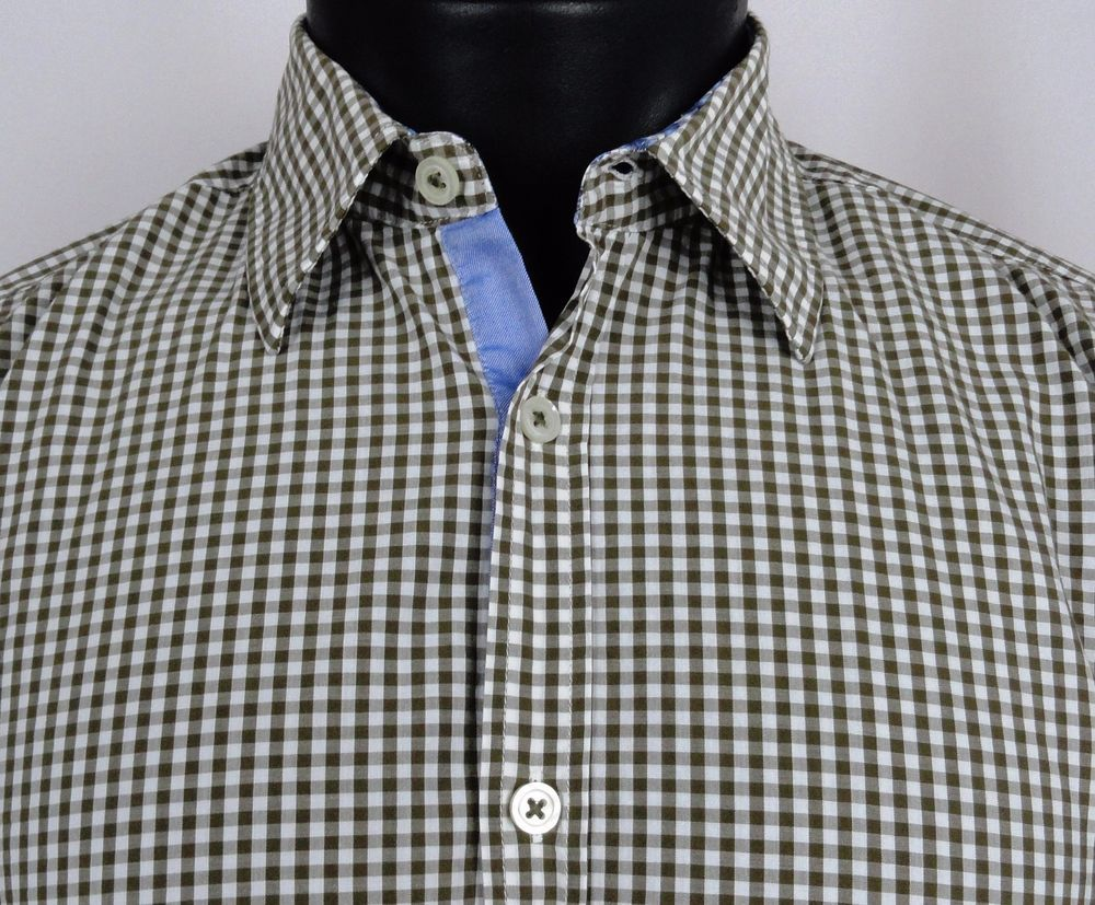 HUGO BOSS Gingham Plaid Shirt Men's Medium Regular Fit Green White LS Flip  Cuff