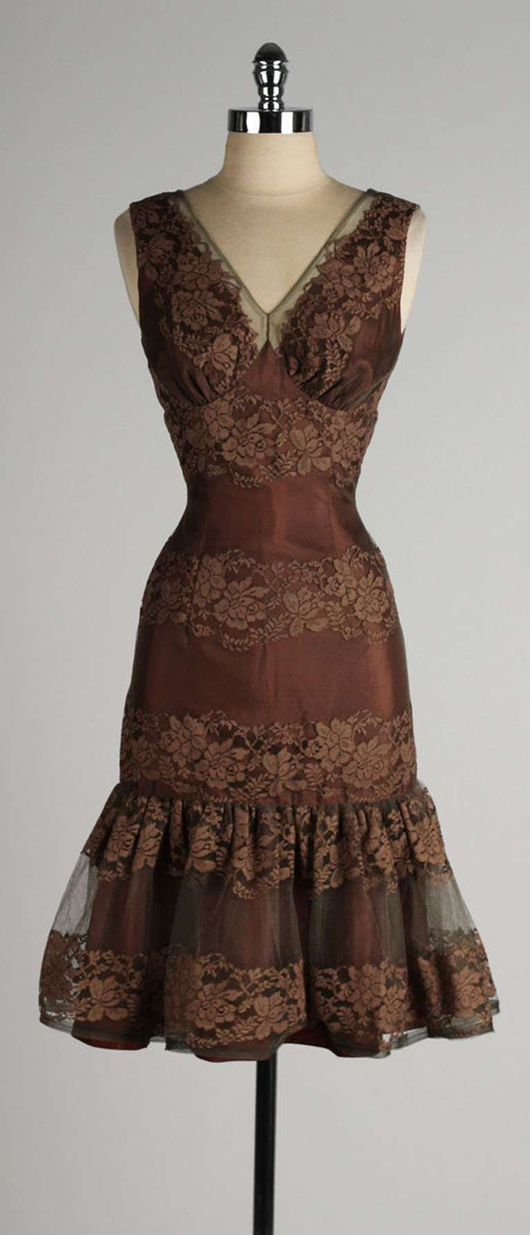 Chocolate Brown Satin Cocktail Dress With Lace And Chiffon