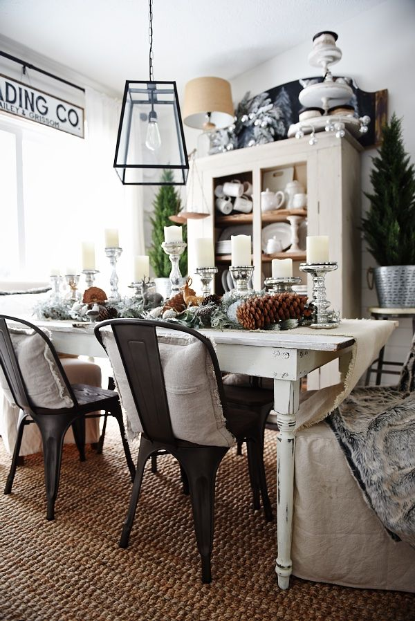 Rustic Winter Woodland Christmas Dining Room