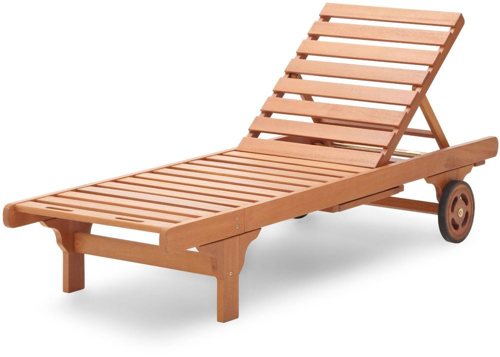 Eucalyptus Wood Wooden Chaise Lounge Hardwood Patio Deck Pool Chair Outdoor  NEW