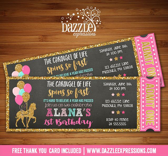 printable chalkboard pink and gold carousel ticket