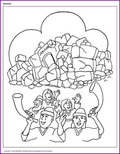 Joshua And The Army March Around Jericho Blowing Trumpets Bible Coloring Pages