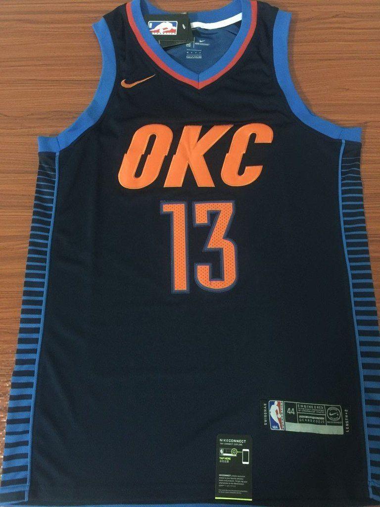 Men 13 Paul George Jersey Blue Oklahoma City Thunder
