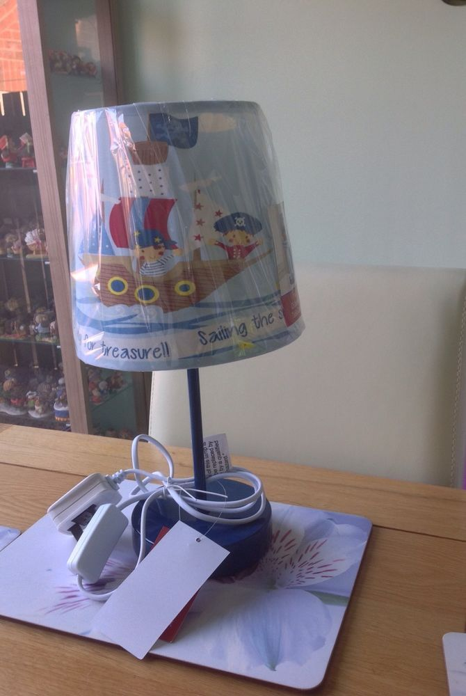 Nursery kids childrens bedside table lamp baby pirates blue ...