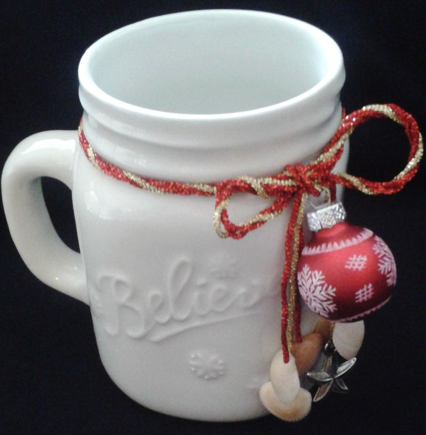 Believe Christmas Mason Jar Mug, Coastal Christmas Coffee Mug, Nautrical