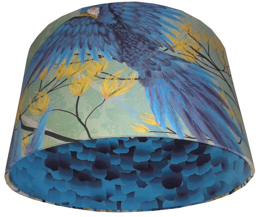 Stunning green blue birds handmade lampshade by lampara notonthehighstreet com