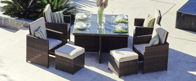 Cubo 4 Rattan Cube Set 4 Seats With Footstools Parasol Included Garden Dining Set Outdoor Dining Furniture Outdoor Furniture Sets