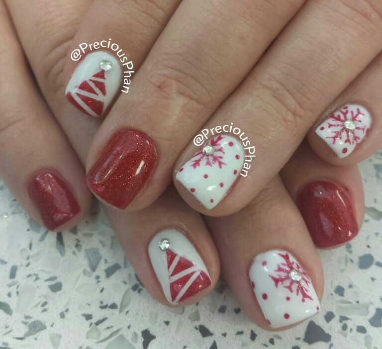 Best Christmas Gel Nails: Christmas Tree, Snowflakes, Christmas Nails.