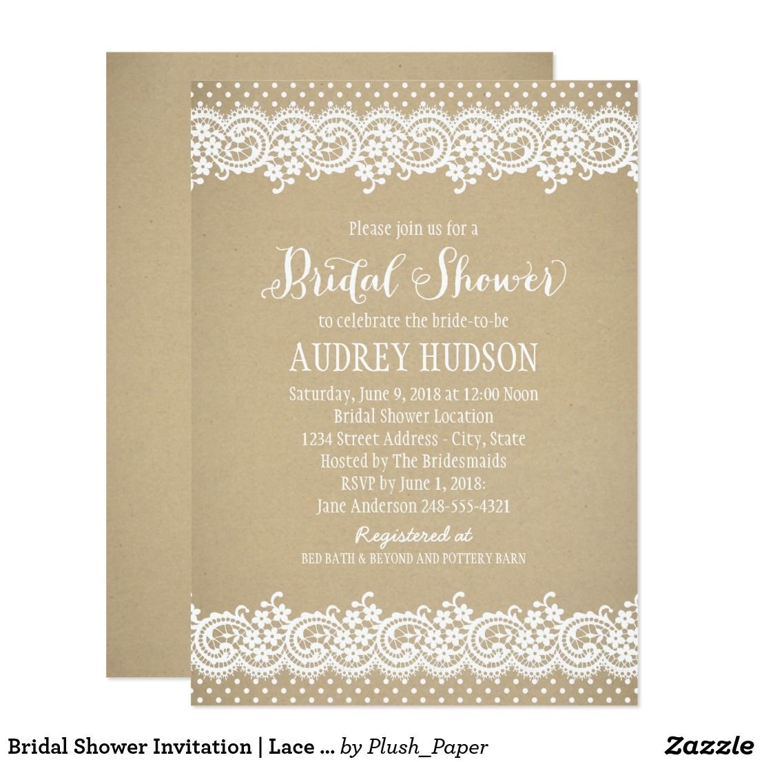 Bridal Shower Invitation | Lace and Kraft | Shower invitations ...