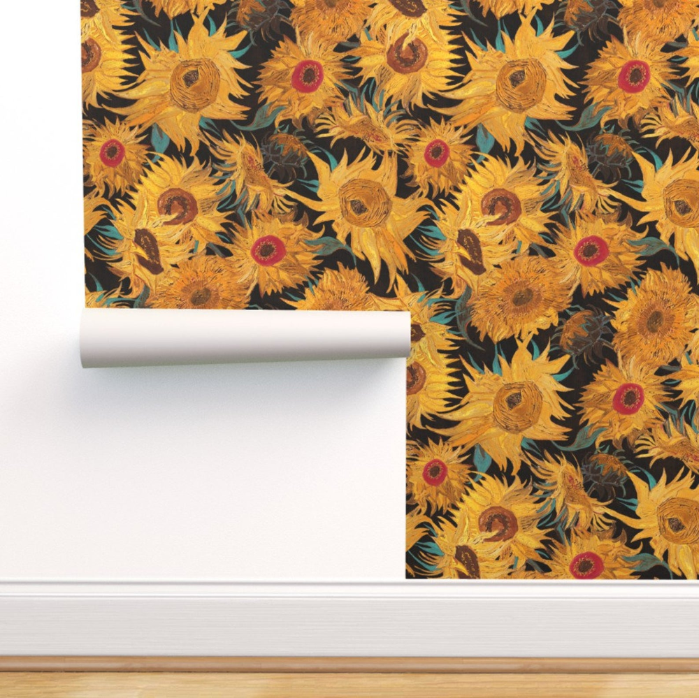 Van Gogh Sunflowers Wallpaper Black Yellow Turquoise Removable Etsy In 2020 Sunflower Wallpaper Sunflower Iphone Wallpaper Wallpaper