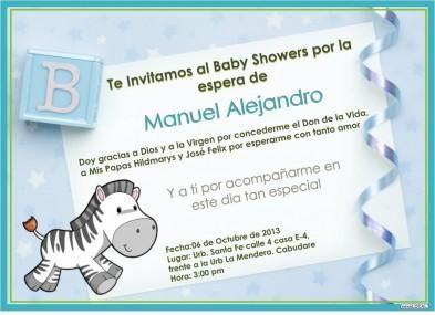 Tarjetas De Invitación Para Baby Shower Niño